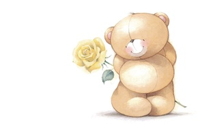 Picture mood, gift, rose, art, bear, modesty, children's, embarrassment, Forever Friends Deckchair bear