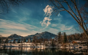 Wallpaper winter, the sky, clouds, snow, mountains, lake, house