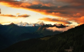 Wallpaper the sky, clouds, sunset, mountains, forest, Alps, alps
