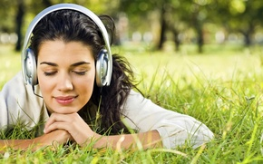 Wallpaper summer, girl, music, ideal, lawn, headphones, weed