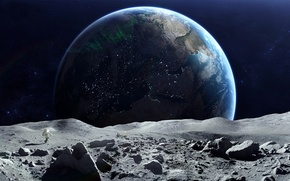 Picture space, earth, the moon, planet, astronaut
