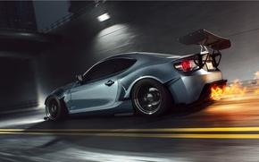 Picture Car, Fire, Speed, Sport, FR-S, Scion, Rear, Burn