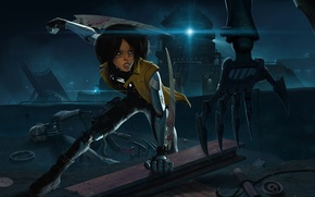 Picture girl, night, weapons, mechanism, robot, hand, cyborg, Android, swords, gunnm, gally, battle angel alita