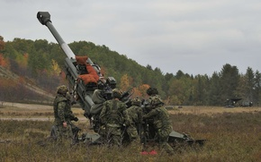 Picture field, soldiers, artillery, howitzer, 155 mm, M777