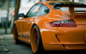 Picture the city, street, blur, Orange, spoiler, Porsche