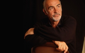 Picture chair, actor, black background, mujina, Sean Connery, producer, Sean Connery