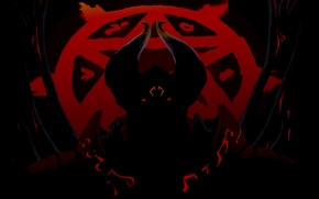 Picture weapons, sword, the demon, silhouette, art, horns, Dota 2, Doom, Lucifer, yzzzehC