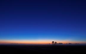 Picture the sky, trees, sunrise, horizon, haze