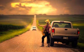 Picture auto, guitar, space, girl.road, Broke Down