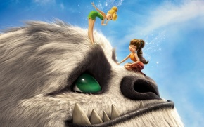 Picture fantasy, magic, monster, sky, green eyes, smile, wings, hair, fairytale, fairies, adventure, catch, Tinker Bell, …