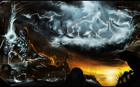 Picture the sky, clouds, lightning, crow, diablo 3, monk, Malthael