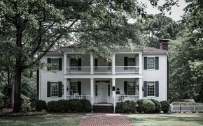 Picture USA, house, grass, tree, Georgia, Oaks, Jonesboro, Stately
