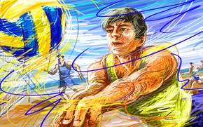 Picture the sky, figure, the ball, vector, volleyball, player, welcome, touch