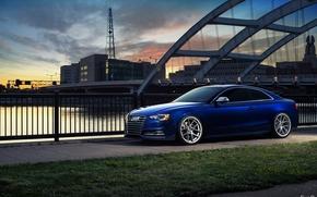 Picture bridge, the city, Audi, blue