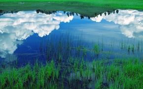 Wallpaper lake, grass, reflection, Clouds