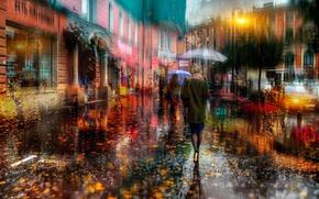 Picture autumn, girl, the city, people, street, umbrellas, Russia, Saint Petersburg