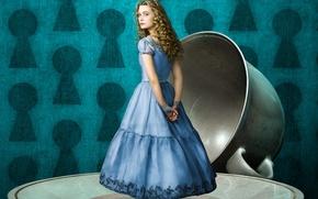 Wallpaper Alice in Wonderland, Alice in Wonderland, background, Cup, saucer, MIA Wasikowska, MIA Wasikowska, fantasy