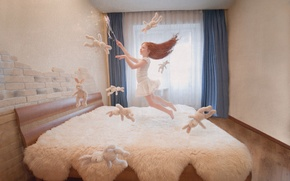 Picture flight, magic, toys, girl, bed, magic wand