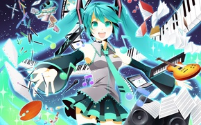 Wallpaper vocaloid, hatsune miku, yamaha, anime