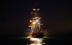 Picture sea, night, lights, sailboat