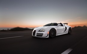 Wallpaper grand, sport, roadster, the evening, road, bugatti, speed, veyron