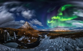 Picture the volcano, mountain, Kirkjufell, snow, waterfall, Northern lights, panorama, night, Iceland, rocks, stars, clouds
