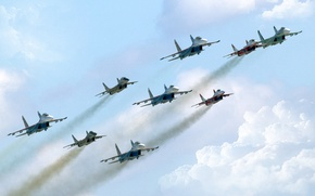 Picture The sky, Fighter, Day, Russia, Aviation, A lot, Multipurpose, Swifts, MiG 29, In The Air, ...