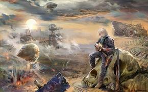 Wallpaper male, skull, novel, with a guitar, sandy Blues, teknotika