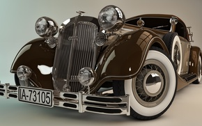 Picture model, art, sport, car, classic, easy, beautiful, fully, Horch, Horch, 853, model., high, power, engine, …