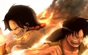 Picture joy, mood, fire, hat, fight, tattoo, guys, art, monkey d luffy, one piece, meta gun, …