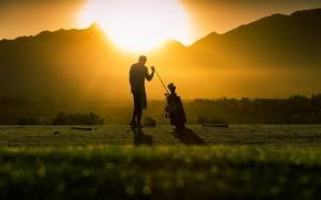 Picture light, sunset, Golf