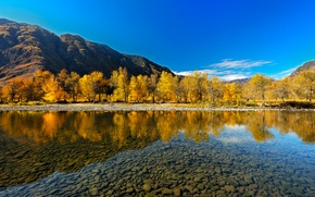 Picture autumn, reflection, river, The Altai Mountains