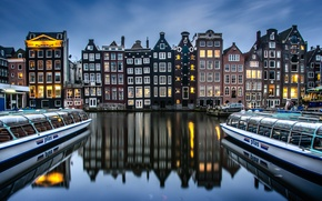 Picture reflection, building, boats, Amsterdam, channel, Netherlands, Damrak