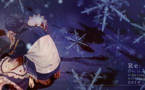 Picture snowflakes, blood, anime, art, drama, Subaru, Re: Zero kara hajime chip isek or Seikatsu, REM