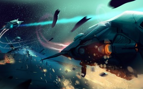 Picture space, ships, the battle, space