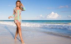Picture sand, sea, wave, water, girl, smile, model, beautiful, Sandra Kubicka