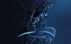 Picture metal, the dark background, mechanism, robot, stranger, art, fangs, Alien, Carlson Woon