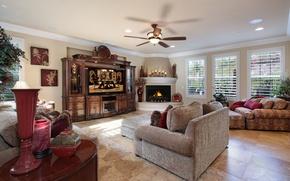 Picture photo, Design, Chandelier, Interior, Living room. Sofa