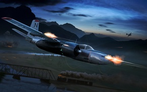 Picture figure, art, attack, Douglas, Invader, A-26, middle American bomber