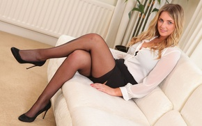 Wallpaper blouse, skirt, Stacey M, stockings, sexy girl