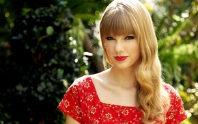 Picture red, portrait, dress, lipstick, singer, Taylor Swift, Sunny