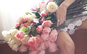Picture hand, roses, Bouquet, ring