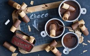 Wallpaper chocolate, waffles, crumbs