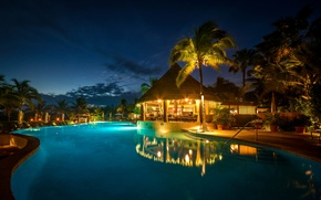 Picture palm trees, the evening, pool, resort, Bahamas resort