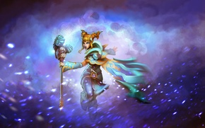 Picture girl, snow, art, staff, Crystal Maiden, Dota 2, Rylai, MugenMcFugen