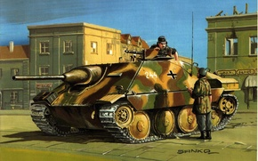 Wallpaper the city, street, figure, soldiers, the conversation, installation, self-propelled, artillery, WW2, easy, German, Tank destroyers, ...