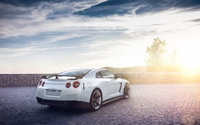 Picture GTR, Nissan, Clouds, Sky, Sun, Lights, Day, White, R35, Rear
