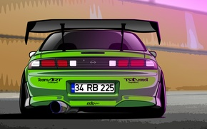 Picture Silvia, Nissan, Green, S14, Drift Spec Vector, by Edcgraphic, 200SX