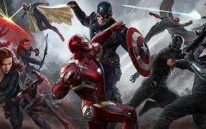 Picture Scarlett Johansson, Vision, art, Falcon, Captain America, Natasha Romanoff, Hawkeye, Jeremy Renner, Chris Evans, black …