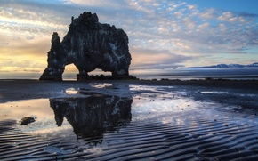 Picture sea, rock, dawn, morning, Bay, Iceland